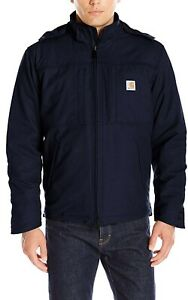 Mens-Carhartt-Full-Swing-Navy-Blue-Quilted-Hooded-Jacket-NWT-Large