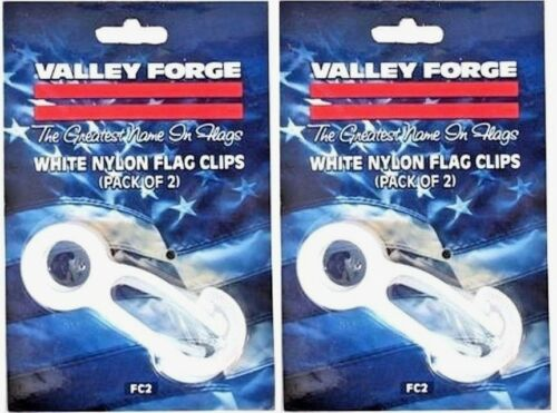 2~ FC2 Valley Forge Set//2 White Nylon Flag Snap Clips Prevents Clanging on Pole