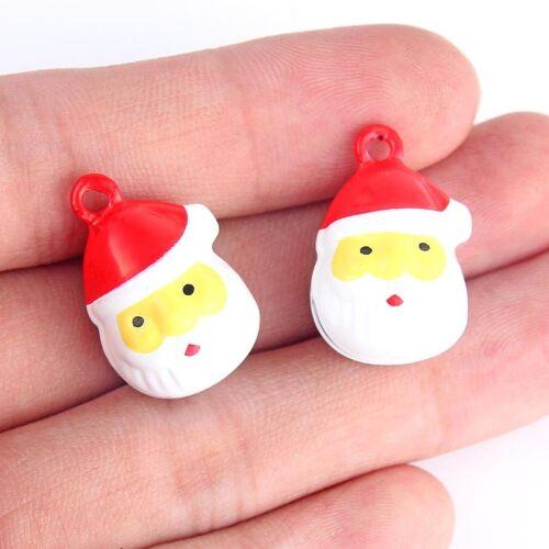 5X Noël Père Noël Pendentif avec petite cloche Cuivre Charm pour Bijoux Making