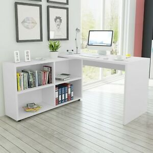 Image Is Loading White Corner Computer Desk L Shaped Bookcase Home