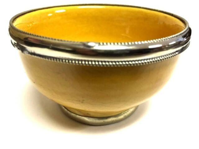 Fancy Sauce Deep Dessert Small Bowl Cups in Glazed Terracotta  Silver Metal Trim