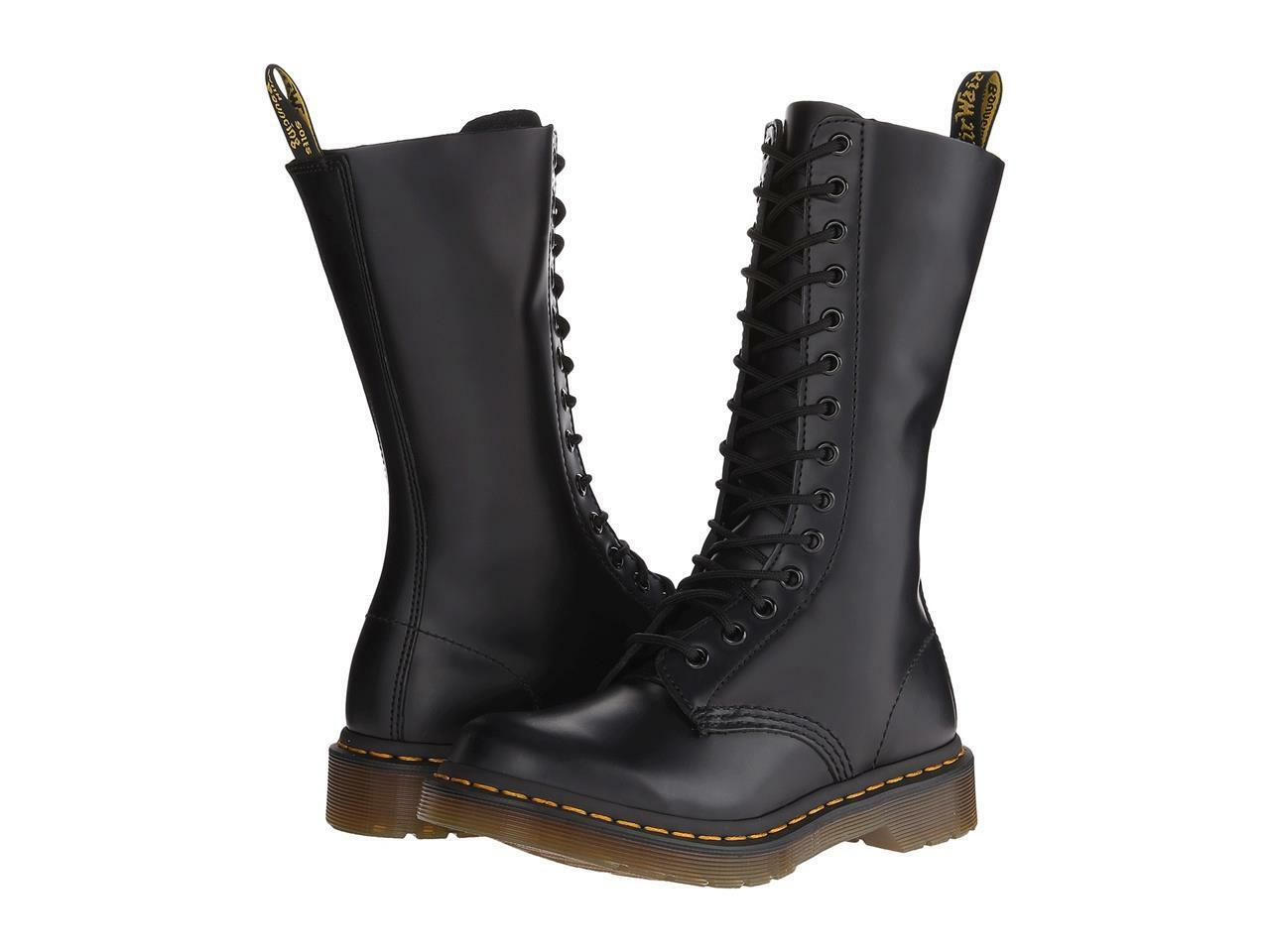 Doc Martens Black 1914 Airwair Bouncing Sole Buttero Leather 14 Eye Wms Boots 5