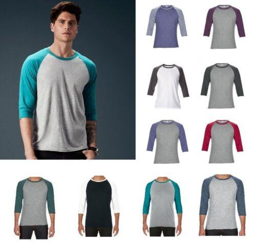 Anvil Due Tonalità Tri-Blend 3/4 Lunghezza Manica Raglan T-shirt girocollo nelle scelte di colore