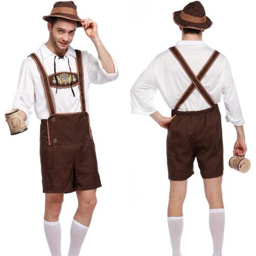 Mens Oktoberfest Bavarian Beer Costumes German Lederhosen Fancy Dress Outfit UK