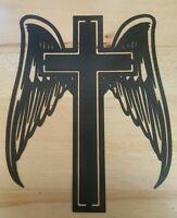 Cross With Angel Wings Metal Wall Art Plasma Cut Decor