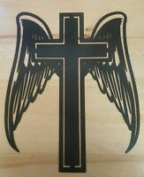Cross With Angel Wings Metal Wall Art Plasma Cut Decor