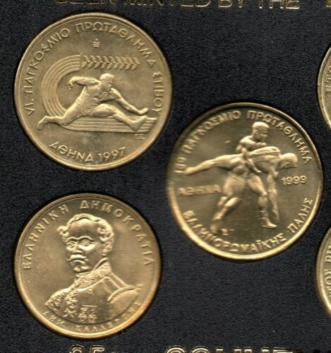 8 Greek Coins 1994-1999 Weight lifting Wrestling Basketball UNC BANK GREECE 35a
