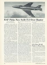 1953 Aviation Article Royal Airforce Vickers Submarine Swift F-4 RAF England