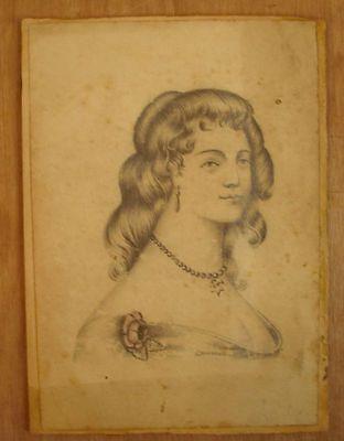 * Dessin Portrait De Jeune-femme Au Crayon Signée L Dureuil Drawing Portrait