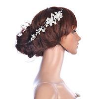 Hot Wedding Bridal Pearl Crystal Rhinestone Flower Hair Tiara Headband Hair Comb