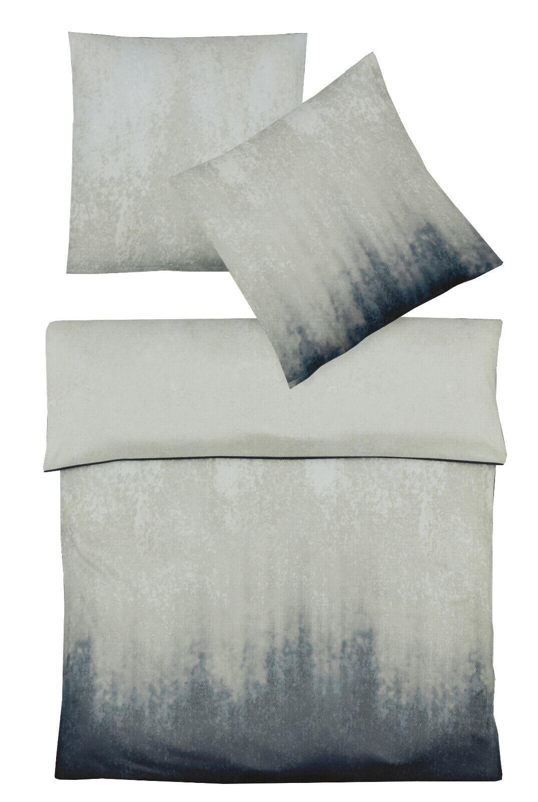 Fleuresse Bettwäsche Set Mako Satin 100% Baumwolle 135 x 200 Blau Grau Töne
