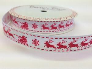 2m-Red-Santas-Sleigh-Print-on-16mm-White-Grosgrain-Bertie-039-s-Bows-Wrap-Christmas