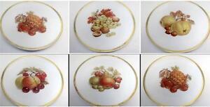 E-amp-R-Germany-1886-Golden-Crown-Set-6-Harvest-Dessert-Fruit-Thanksgiving-Plates