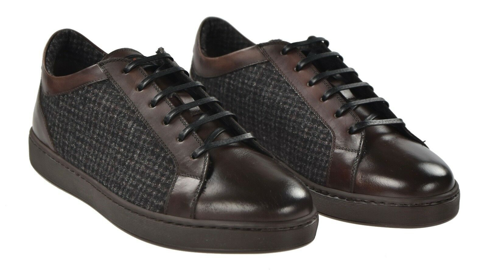 NEW KITON SHOES SNEAKERS LEATHER AND CASHMERE SIZE 9.5 US 42.5 KSC50