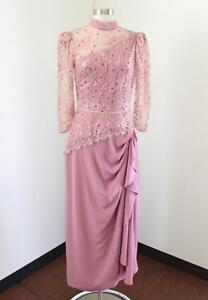Vtg 70s 80s Alyce Designs Pink Gold Lace Ruffle Evening Party Dress Sz S Retro