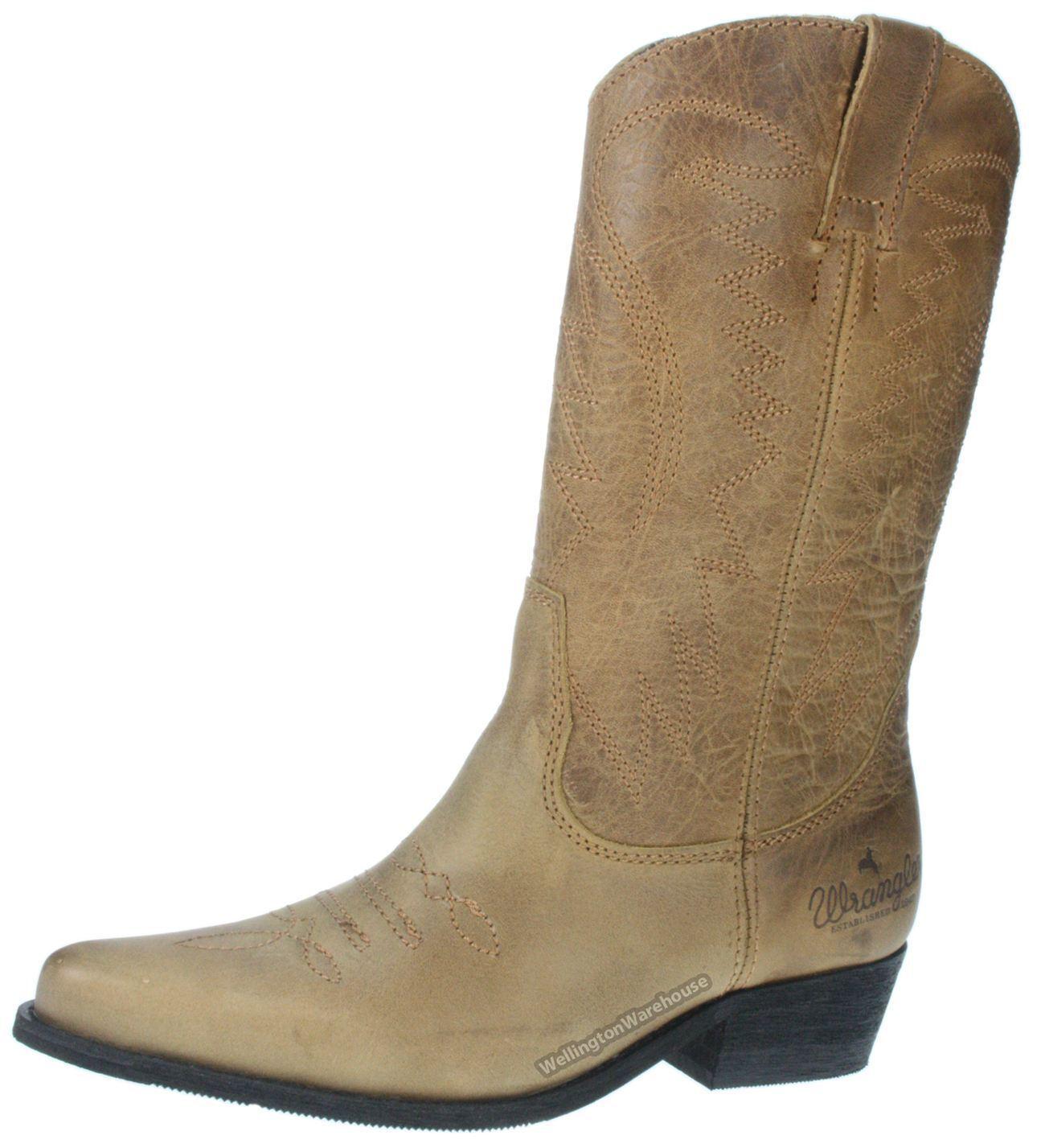 Wrangler Tex Hi señoras de de señoras cuero marrón tirar de Cowboy En botas De Punta 8ab5de