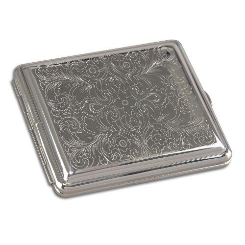 Zigarettenetui 18er aus Metall versilbert mit venezianischem Muster 97286