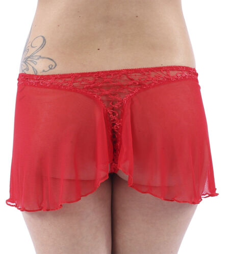Details about  /Sexy Sheer Black Red French Knickers Size 8 10 12 14 M L Thong See Through Mesh