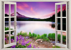 3D Window Effect View Mountain Lake Nature Trees Sticker Wall Poster Vinyl 634