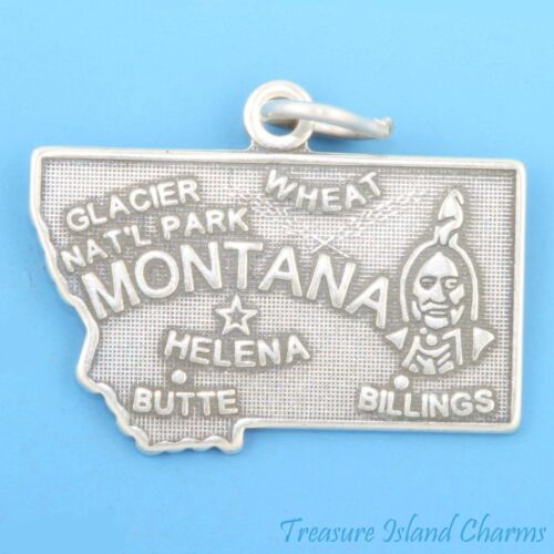Montana State Map Helena Butte Billings .925 Solid Sterling Silver Charm Pendant