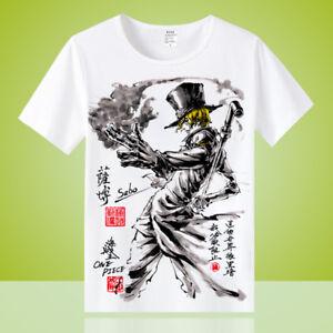 Anime-Sabo-One-Piece-Unisex-Crewneck-Otaku-Casual-T-shirt-Tops-Tee-Short-Sleeve
