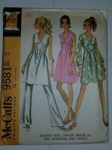 Dress-Pants-Sewing-Pattern-Size-16-McCalls-9581-VTG-60-039-s-Crossover-Tie-V-Neck-UC