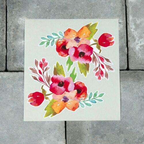 SKU6622 2 x Watercolour Flowers Vinyl Stickers Decals Wall MacBook Laptop iPad