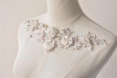 Diamante Wedding DIY Accessories Flower Bridal Dress Applique Beaded Motif Trim