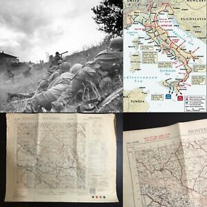 WWII-Rare-George-Patton-Seventh-Army-Infantry-Montespino-Italy-Combat-Map-Relic