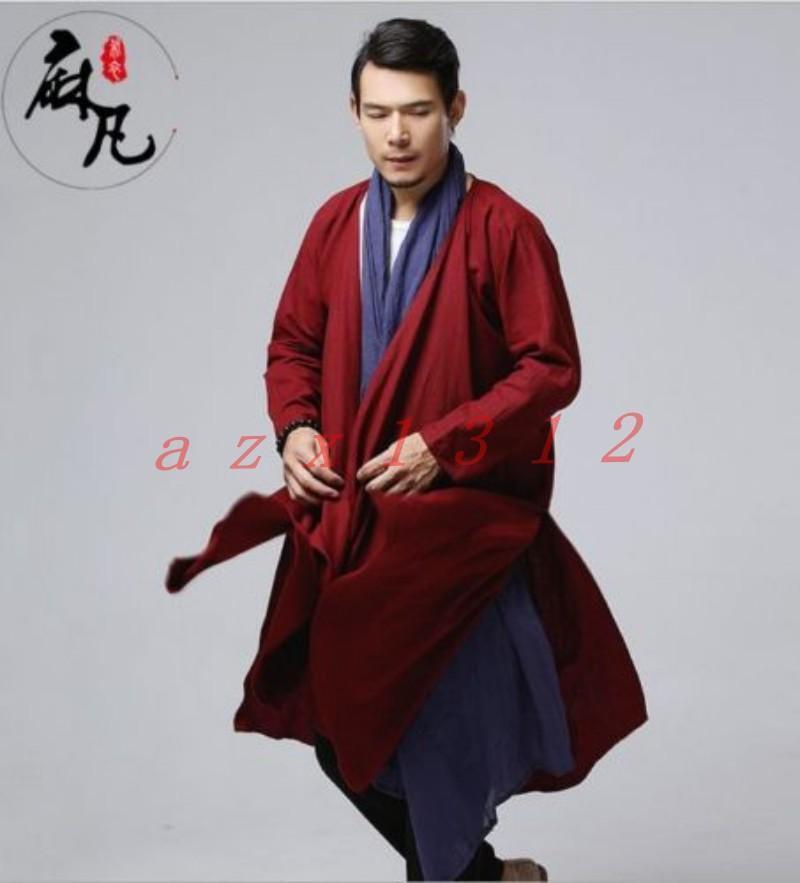 Hot Mens Linen Loose Maxi Trench outwear Windbreaker Japanese Samurai Boho Coat