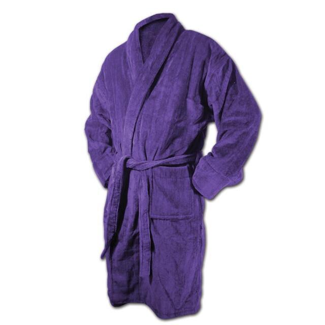 TERRY VELOUR SHAWL Spa Bath Robes PURPLE  Bathrobe MEN and WOMEN