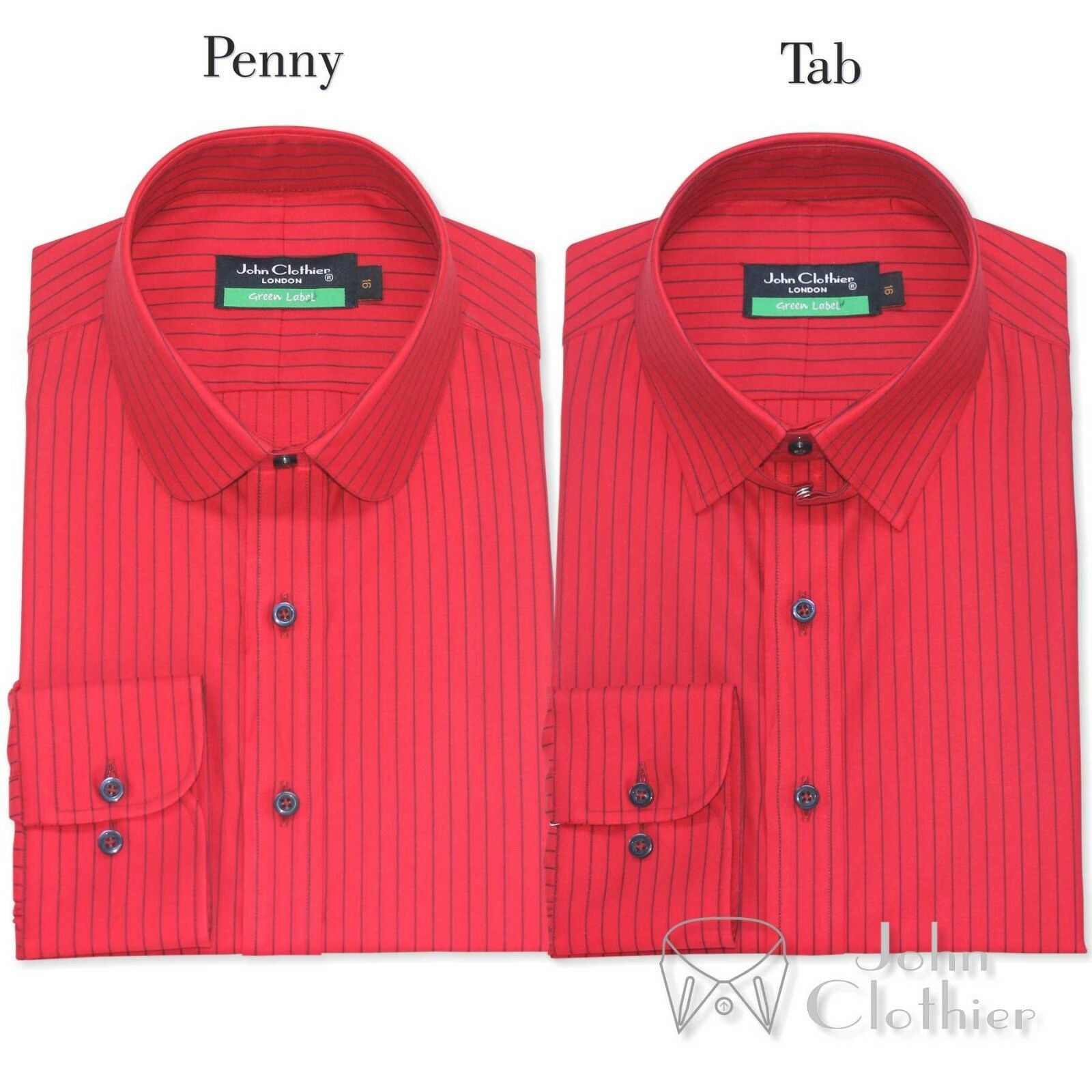 Herren Cotton shirt Penny collar Tab collar ROT with Blau stripes Club Loop Gents