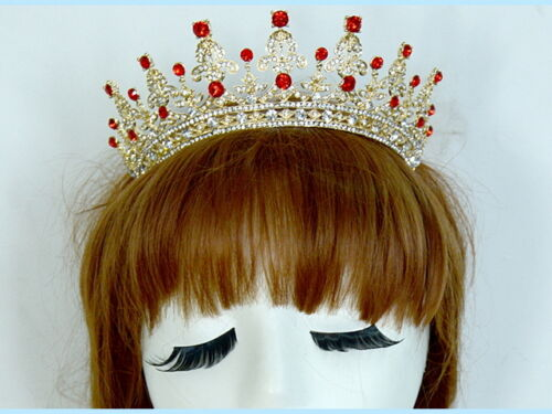 5cm High Red or Clear Crystal Wedding Bridal Party Pageant Prom Tiara 2 Colors