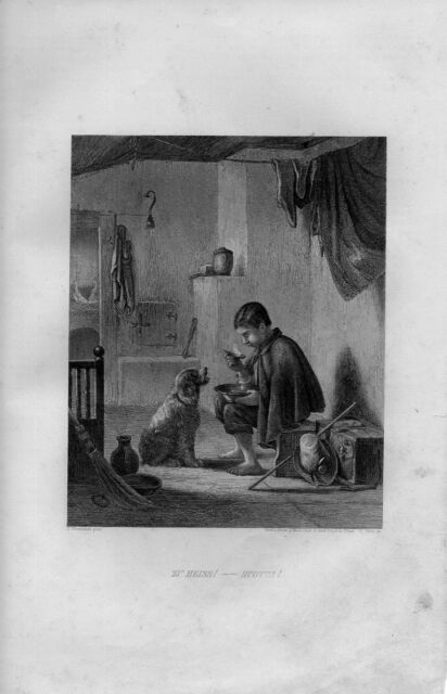 Stampa antica RAGAZZO CHE MANGIA UNA ZUPPA BOLLENTE 1852 Old Print Engraving