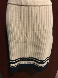 59e922cb775f9 TORY BURCH Champagne Beige Knit Skirt Navy Stripes Size Medium NWOT ...