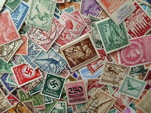 Deutsches-Reich-Sammlungsaufloesung-Lot-Konvolut-Briefmarken-Papierfrei