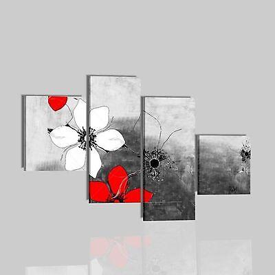 Quadri moderni astratti dipinti a mano su tela rosso for Quadri moderni fiori dipinti a mano