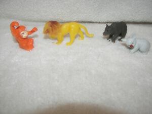 "Plastic Animals Lion / Tiger Bear, Koala , Monkey 2"" set 4 ..."
