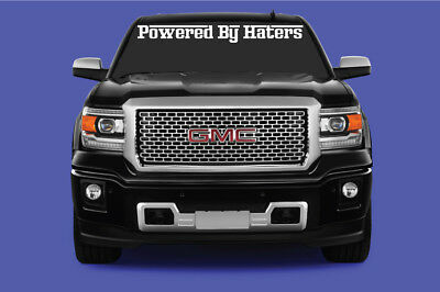 """Powered By Haters Truck Suv Vinyl Graphics Windshield Decal//Sticker 24/"""" or 36/"""""""
