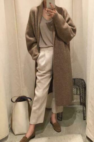 Womens Outwear Warm Long Coat Cashmere Wool Blend Knitted Sweater Cardigan
