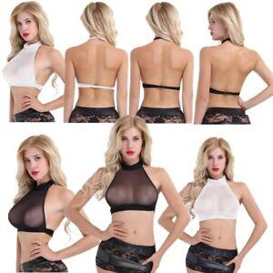 9327afb36d La foto se está cargando  Mujeres-Malla-Transparente-Sujetador-de-cabestro-cuello-Cami-