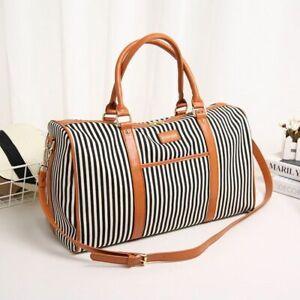 Women-039-s-Leather-Travel-Handbags-Striped-Duffel-Tote-Large-Weekend-Shoulder-Bags