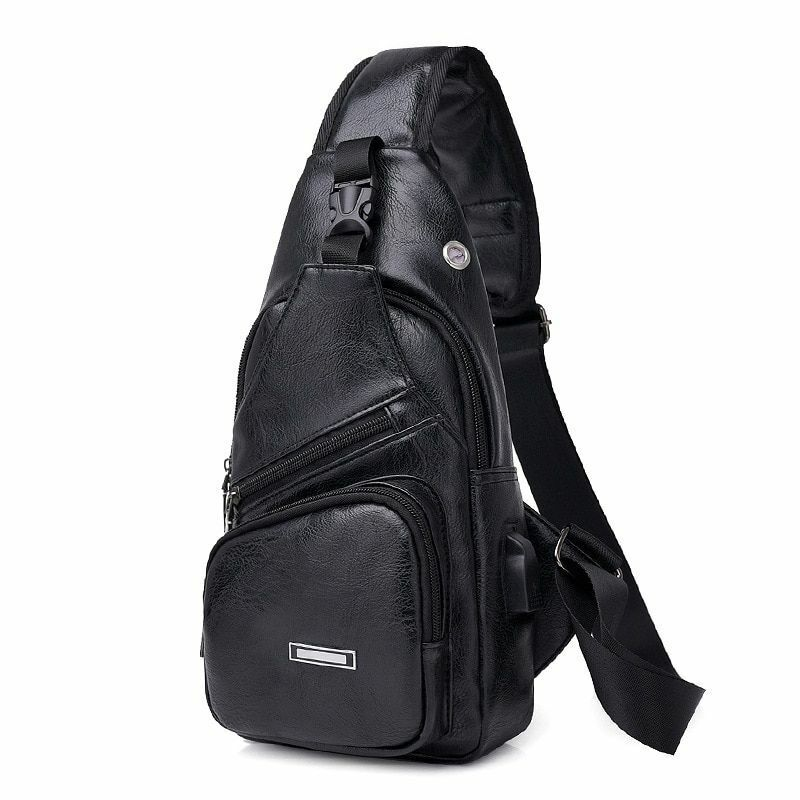 Leather Sling Bag Backpack Crossbody Shoulder Chest Cycle Daily Travel Men Women