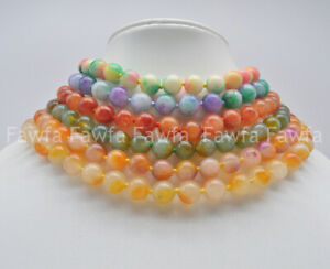 """8-10mm Beautiful chinese Jade Bead necklace 18/"""""""