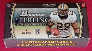 2011-Bowman-Sterling-Football-HOBBY-Pack-1-Auto-2-Relic-Cam-Newton-JJ-Watt-RC