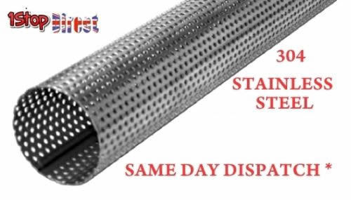 """4/"""" 101MM STAINLESS STEEL PERFORATED TUBE ALL  LENGTHS EXHAUST REPAIR SILENCER"""