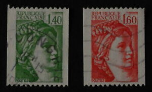 Timbre poste. France. n°2157. 2158. Sabine. roulette