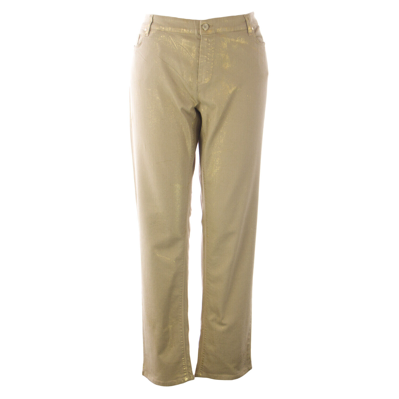 MARINA RINALDI Women's Beige Ragazza Jeans W  gold Accents  NWT