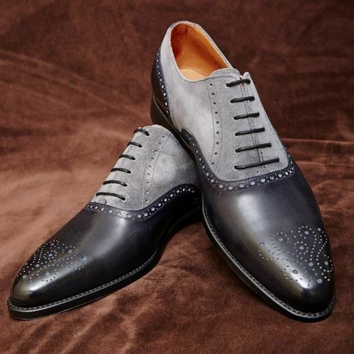 MEN HANDMADE DRESS LEATHER BROGUE TWO TONE SHOES MEN BLACK AND GRAY FORMAL SHOES
