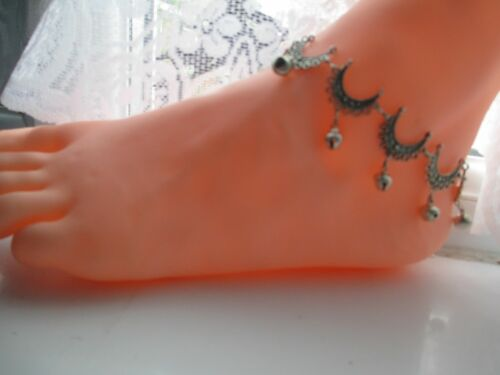MOONS AND RINGING BELLS LOTS OF SIZES BELLY DANCING//INDIAN STYLE ANKLE CHAIN